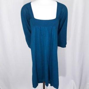 Express Blue Flare Sleeve SquareNeck Sweater Dress
